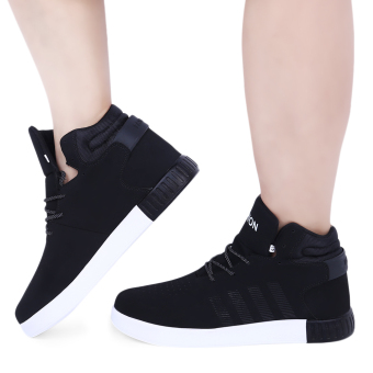 Casual Solid Color Lace Up Male Dunk High Breathable Shoes(Black) - intl Price Philippines