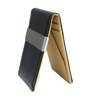 Men's Faux Leather Metal Money Clip Wallets (Coffee) Price Philippines