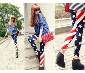MG Stars & Stripes Usa Full Length Ladies American Flag Leggings Slim Fit - intl Price Philippines