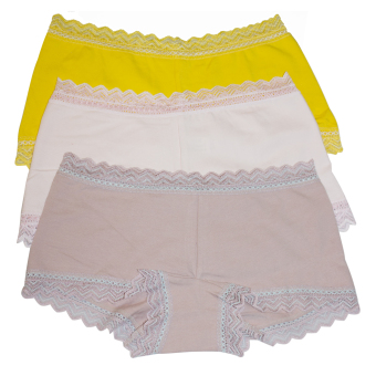 Harga Kara DSN# P2066-3 Kiera 3 in 1 Lace Boyleg Set (Yellow/Baby Pink/Old rose)