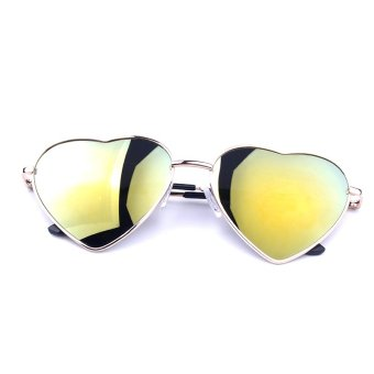 Harga Moonar Unisex Women Men Heart Shaped Glasses Sunglasses Vintage Yellow
