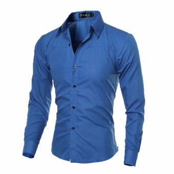 Mens Slim Long Sleeve Dress Shirts(Blue) Price Philippines