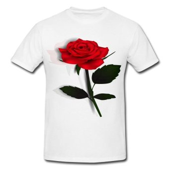Lovely Red Rose T-Shirt (White) Price Philippines