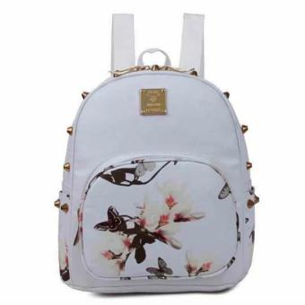 New 2017 Tokyo Japan Korean Fashion Kylie Printed Backpack Womens Girls Fashion Bag with Studs (White) Price Philippines