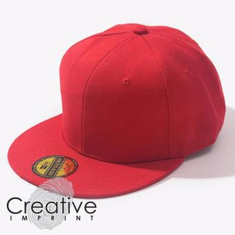Harga Creative Imprint Plain SnapBack HipHop Fashion Flat Brim Cap (Red)
