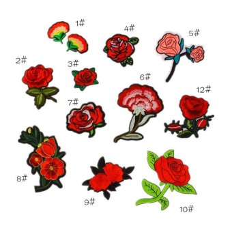 11Pcs Embroidery Rose Flower Sew On / Iron On Patch Badge Bag Hat Jeans Applique DIY-Red - intl Price Philippines