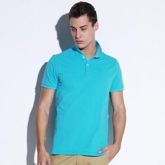 Harga Clothing New Men Polo Shirt Men Business Casual Solid Male Polo Shirt Short Sleeve Breathable Polo Shirt (Light Blue) - intl