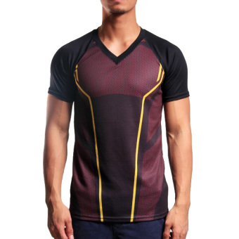 Harga Flash V-Neck Kolon T-Shirt (Red Maroon/Black)