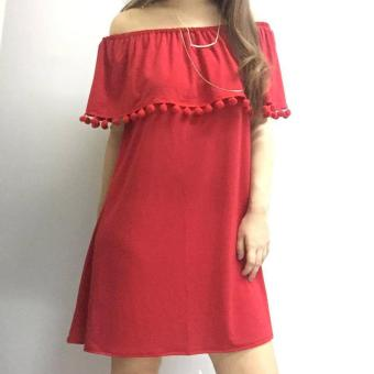Stache Pom Pom Off Shoulder Dress (Red) Price Philippines
