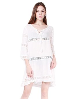 Hang-Qiao Women Flounce Dress Lace Splice Long Sleeve (White) Price Philippines