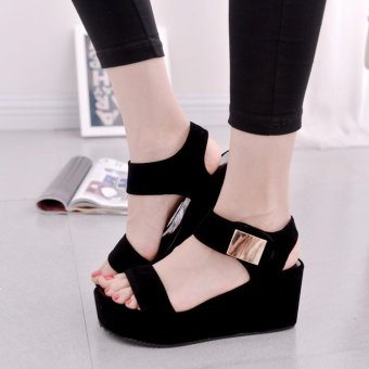 Harga Rome Style Summer Women High Heel Sandals Platform Peep Toe Lady Wedges Sandals Shoes (Black) - intl