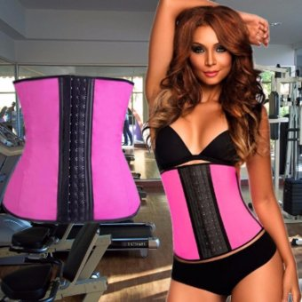 Harga New Latex Woman Waist Trainer Cincher Rubber Corset Body Slimming Clothes S/M (Pink)