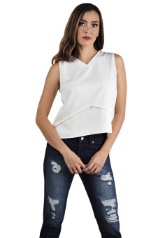 Harga Plains & Prints Hopkins Sleeveless Top (Offwhite)