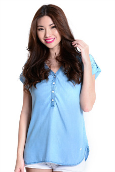 Harga Lee Ladies Woven Polo (Denim)