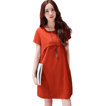 Harga Pregnant woman Dress linen cool loose style