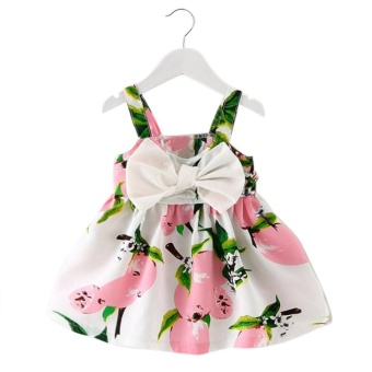 Baby Girl Clothes Lemon Printed Infant Outfit Sleeveless Princess Gallus Dress Pink - intl Price Philippines