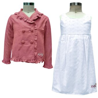 Harga Robby Rabbit Set of 2: Sweet Sunday Eyelet Dress and Cotton Chambray Overlap Blazer (Heather Red/White)