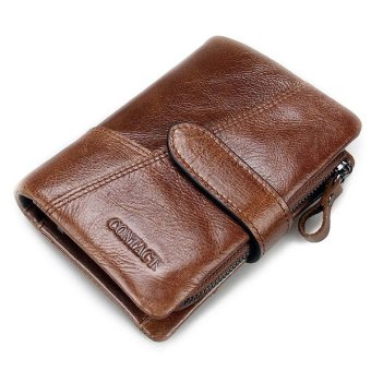 Genuine Leather Wallet Vintage Standstone Men Wallets Male Purse Coin Bag coffee - intl Price Philippines