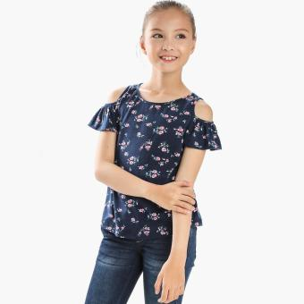 Harga Little Miss Girls Roses Cold-shoulder Top (Navy Blue)