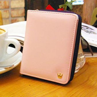 Moonar Women Short Wallet Candy Color Two fold crown zipper Purse Card Holder Bags (Pink) - intl Price Philippines