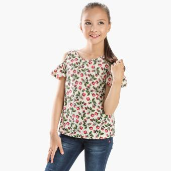 Harga Little Miss Girls Roses Cold-shoulder Top (Cream)
