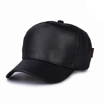 Harga Gracefulvara New Unisex Faux Leather Plain Blank Hiphop Snapback Baseball Cap Hiphop Hat - Black