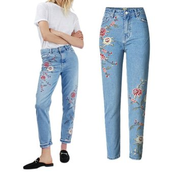 Amart Women High Waist Denim Embroidered Jeans Pencil Pants Flower Casual Trousers - intl Price Philippines