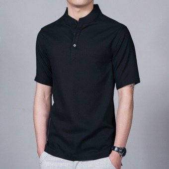 Harga JOY Chinese wind linen men's shirt black