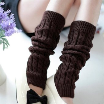 Harga Womens Winter Knit Crochet Knitted Leg Warmers Legging Boot Cover Coffee - intl