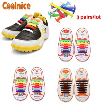 Coolnice® 3 Pairs No Tie Shoelaces for Kids Funny DIY 3*12pcs- Elastic Stretch Environmentally Safe Waterproof silicone Wipe Clean- 3 Colors - Intl Price Philippines