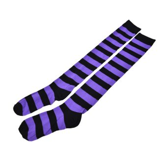 Lady Girl's Comfy Striped Knee Long Socks Stripe Stockings Soccer Football Black+Purple - intl Price Philippines
