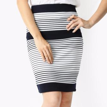 Harga SM Woman Prima Striped Pencil Skirt (Navy Blue)