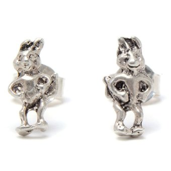 Harga Silverwork E5257 Standing rabbit Stud Earrings (Silver)