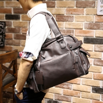 Men Cowhide Leather Handbag Shoulder Satchel Mens Fashion Tote Bag Leisure Korean Leather Bag (Coffee) Price Philippines