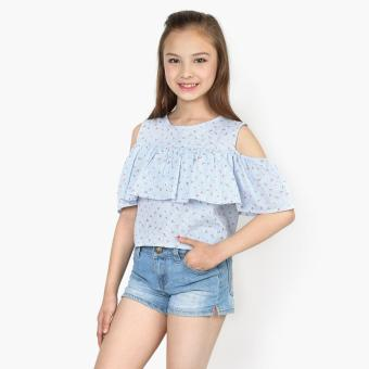 Harga Little Miss Girls Roses Allover Pinstripe Cold-Shoulder Top (Blue)