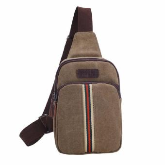 Harga Man Messenger Bag Casual Travel Chest Bag Canvas Small Crossbody Pack Men's Shoulder Bag (Coffee)