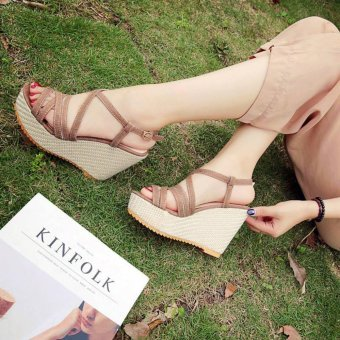 Harga Khoee 816 Women's Shoes Peep Toe Wedge Platform High Heel Pump Sandals Ankle Strap (brown)