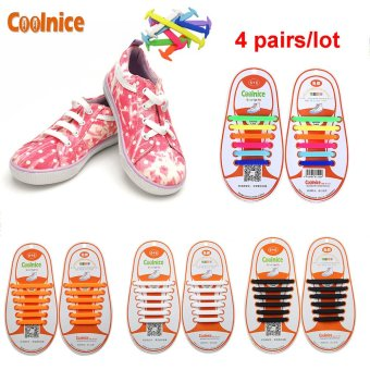 Coolnice® 4 Pairs No Tie Shoelaces for Kids Funny DIY 4*12pcs- Elastic Stretch Environmentally Safe Waterproof silicone Wipe Clean- 4 Colors - Intl Price Philippines