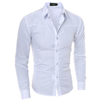 Mens Slim Long Sleeve Dress Shirts(White) Price Philippines