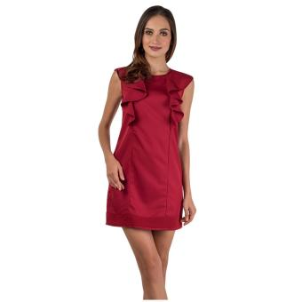 Harga Plains & Prints Jiggy Sleeveless Dress (Maroon)