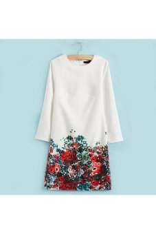 Harga Moonar Round Collar Long Sleeve Flower Printed Mini Dress (White)