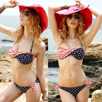 New Stars and Stripes Padded Twisted Bandeau American Flag Swimwear Bikini Swimsuit - intl Price Philippines