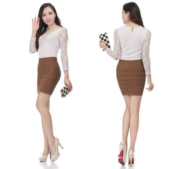 Harga Sexy Women Mini Skirt Pleated Stretch Tight Business Pencil Dress(Fine Coffee)