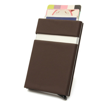 Harga Men Women Aluminum Slim ID Credit Card RFID Protector Holder Purse Secure Wallet Coffee - intl