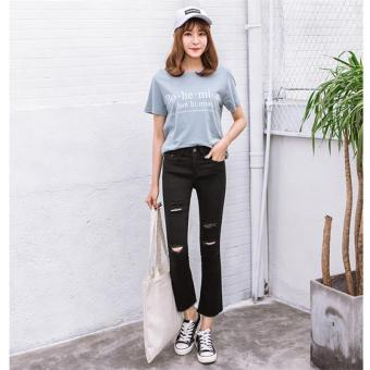 Harga Black Korean Ripped Jeans High Waist Skinny Jeans Women Pants Trousers Sexy Hole Jeans Woman Ninth Pencil Jean - intl