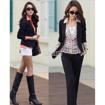 Harga MG Slim Short Blazer Suit Jacket (Black) - intl