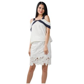 Harga Plains & Prints Mackey Short Sleeves Top (Offwhite)