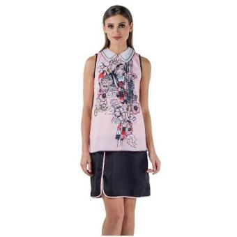 Harga Plains & Prints Jared Sleeveless Dress (Pink/Black)