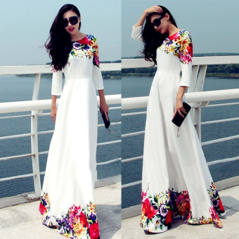 Woman Round Neck Long Sleeve Printing Slim Long Dress(White) Price Philippines