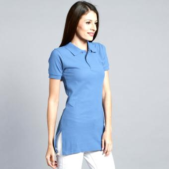 Longline Polo Shirt with Side Slit for Ladies (Light Blue) Price Philippines